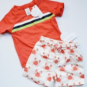 NWT [Gymboree] Swim Trunks & Rashguard, UPF 50+
